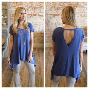 Tops - Denim blue asymmetrical short sleeve tunic