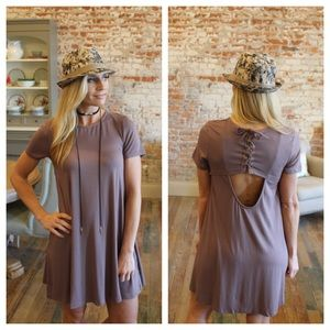 Dresses & Skirts - Dark taupe lace up detail back dress