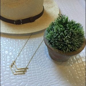Jewelry - Gold triple chevron bar necklace