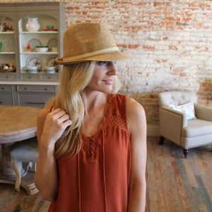 Infinity Raine Accessories - Natural banded straw fedora