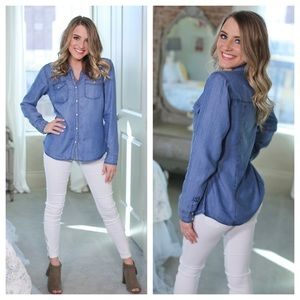 Tops - Denim chambray button up top