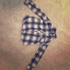 Mia Chica Tops - Cute girl's black and white flannel.