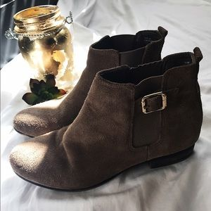 White Mountaineering Shoes - Faux Suede Tan Ankle Booties