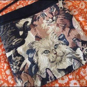 Handbags - Really cute cat tapestry shoulder bag. Like new!