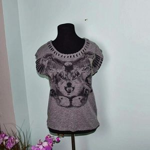 Tops - Adorable Wolf Eagle Printed Top