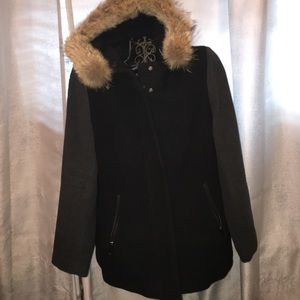 Andrew Marc Jackets & Blazers - Black & Gray Andrew Marc Coat with Fur Hood Sz 12