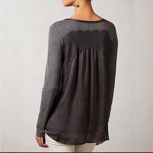 Anthropologie Tops - Anthropologie Satin Lace Tunic Top