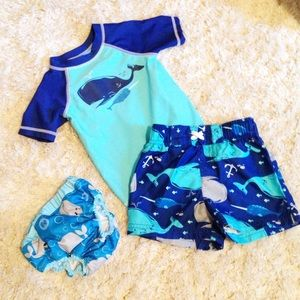 Circo Other - Whale and Narwhal Swim Set 12 month Blue Tee Trunk