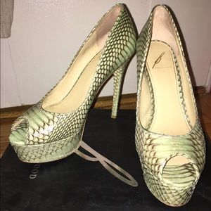 B by Brian Atwood snakeskin platform pumps