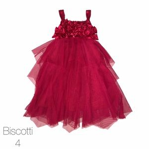 Biscotti Other - Biscotti Maroon Tiered Ruffled Dress Bow Top 4