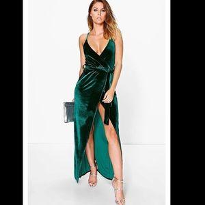 BooHoo Green Velvet Wrap Dress