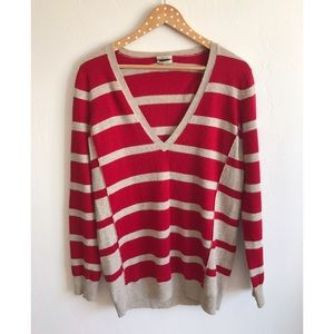 Madewell Sweaters - Madewell Wallace Striped V Neck Ex BF Sweater