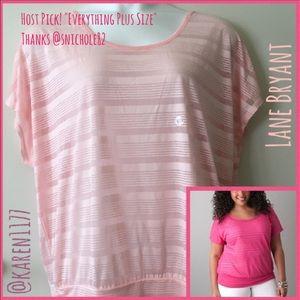 Lane Bryant Tops - HP🌸Lane Bryant Pink Sheer Stripes top🌸