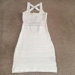 White open back bodycon dress