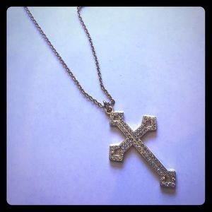 Long gold rhinestone cross necklace