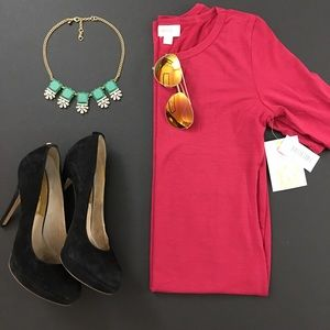 LulaRoe Red Raspberry Julia Solid Dress