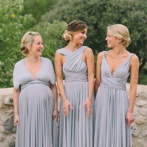 Two Birds Dresses & Skirts - Two Birds Infinity Tea Length Dress in Putty