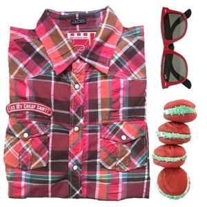Jachs Other - Jachs red plaid button down shirt with patches