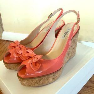 LK Bennett Shoes - L.K. Bennett sling back cork wedges in peach