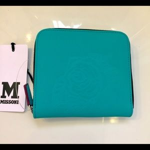 M by Missoni Handbags - MISSONI TURQUOISE LEATHER ZIP AROUND WALLET