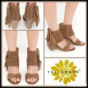 "Yellow Box Shoes - ""FESTIVAL"" WEDGE FRINGE SANDALS"