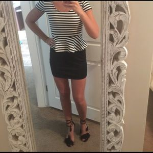 Sparkle & Fade Dresses & Skirts - Black and white striped peplum dress size small