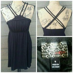 Moa Moa Dresses & Skirts - Moa Moa Black Braided Strap Black Dress