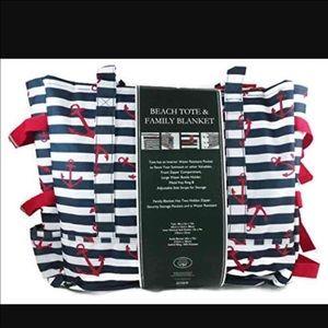 Laura Ashley Handbags - Laura Ashley Beach Tote with Family Blanket New