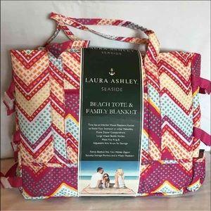 Laura Ashley Handbags - Laura Ashley Beach Tote With Family Lanket