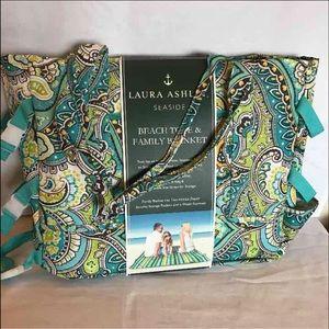 Laura Ashley Handbags - Laura Ashley Beach Tote With Family Blanket