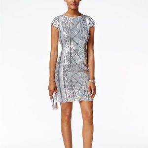 NWT Adrianna papell Silver sequined mini dress