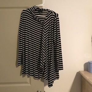 AB Studio Sweaters - Black and White Striped Cardigan