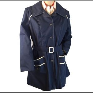 Vtg Navy Canvas Belted Button Front Coat lined M