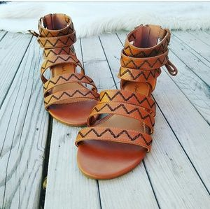 LAST CHANCE!!//The Florence// Cognac Tribal Sandal