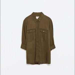 Zara Woman medium green button up blouse