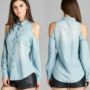 Active Tops - Open cold shoulder chambray denim shirt