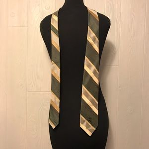 countess Mara Other - 57 inch Green and gold striped tie