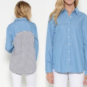 Esley Tops - 💞Chambray Blue Shirt w/Striped Back