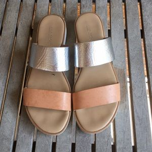 Mila Paola Italian Sandals. Tan & Silver Slip On.