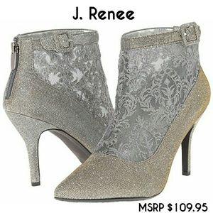 J. Renee Shoes - J. Renee gray and gold Haldana Ankle Booties NIB