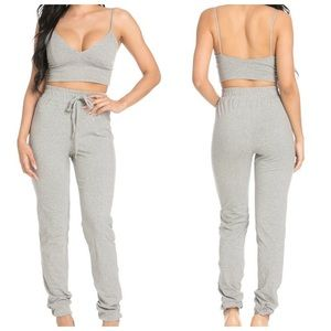 Other - DEEP SALE💖 Crop Top and Bottom Set in Grey