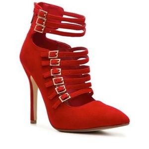 Anne Michelle Shoes - Red strapy pumps ❤