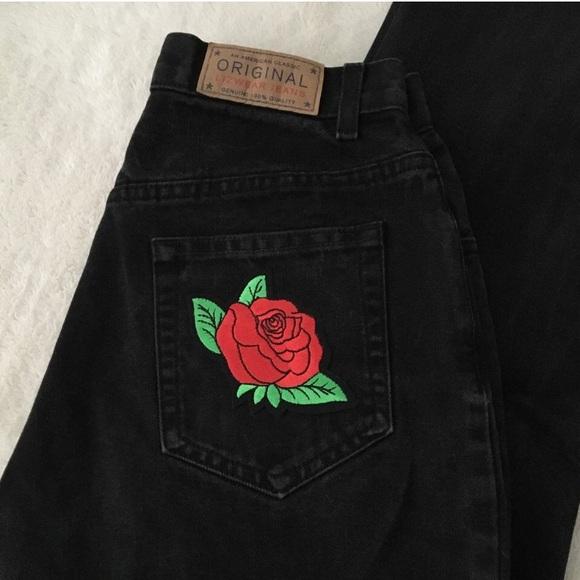 43% off Lizwear Denim - Red rose vintage mom jeans black sz 26 ...