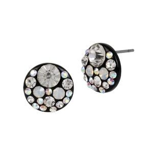 Betsey Johnson black rhinestone cluster earrings