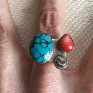 Jewelry - 🆕 Sterling Silver semi precious ring adjustable