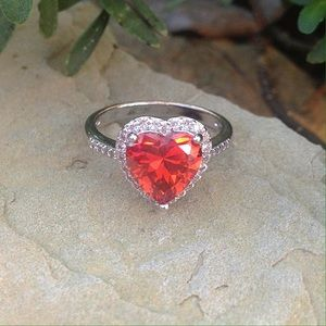 Jewelry - Garnet heart white gold filled halo ring