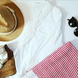 Krazy Kat Tops - White Cotton Lace Tunic Top Blouse