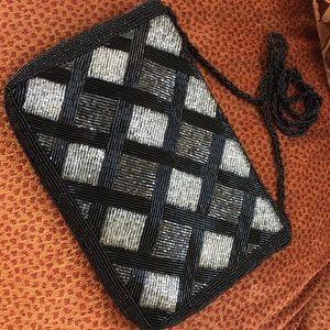 Vintage beaded black silver evening bag crossbody