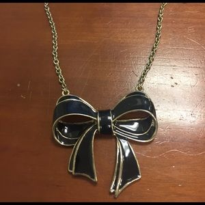 Adorable Black enamel bow necklace 🎀