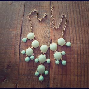 Light blue/green statement necklace w gold